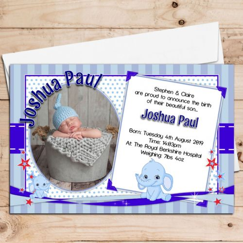 10 Personalised Blue Elephants New Baby Boy Birth Announcement Thank You PHOTO cards N117